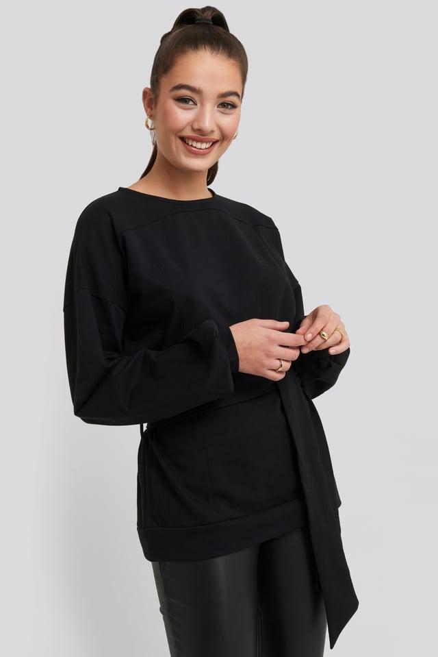 Yoke Fitted Sweater Black