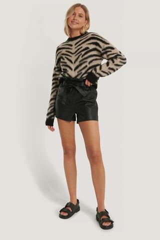beige/Black Dziergany Szczotkowany Sweter W Paski Zebry