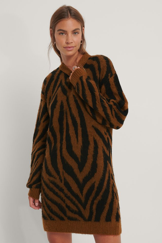 Zebra Knitted Dress Black/Rust