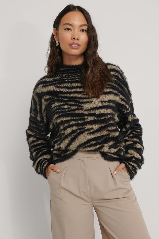 beige/Black Zebra Knitted High Neck Sweater