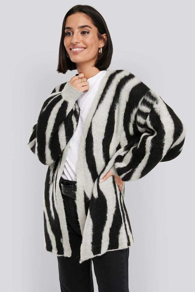 Zebra Printed Oversized Cardigan Grey/Black
