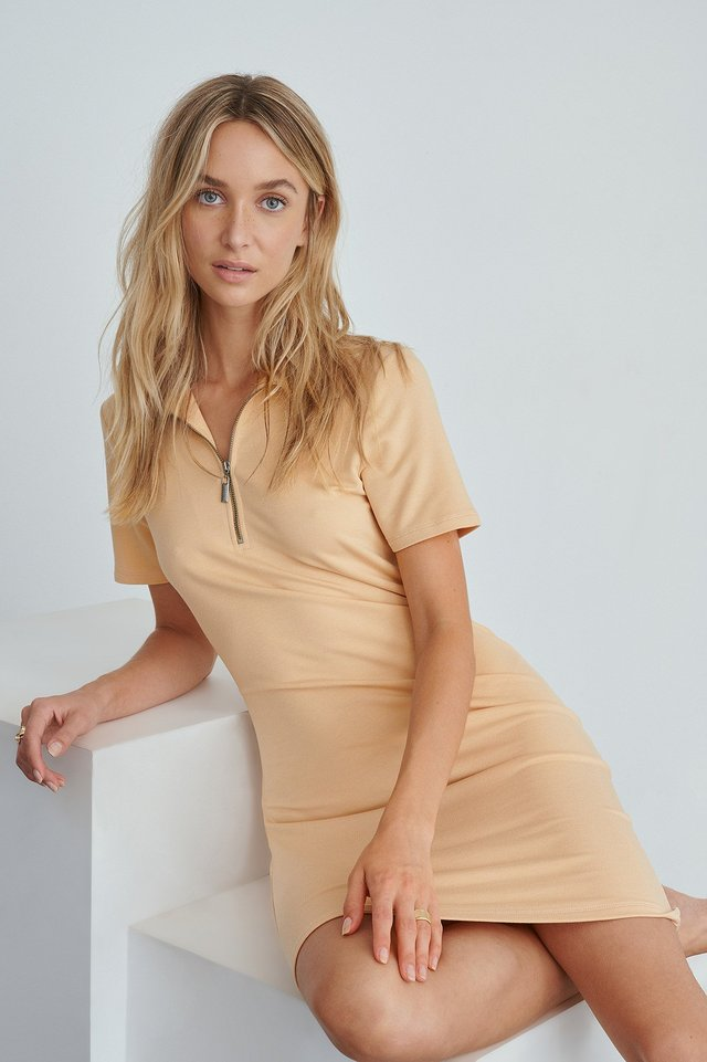 Zip Collar Mini Dress Beige
