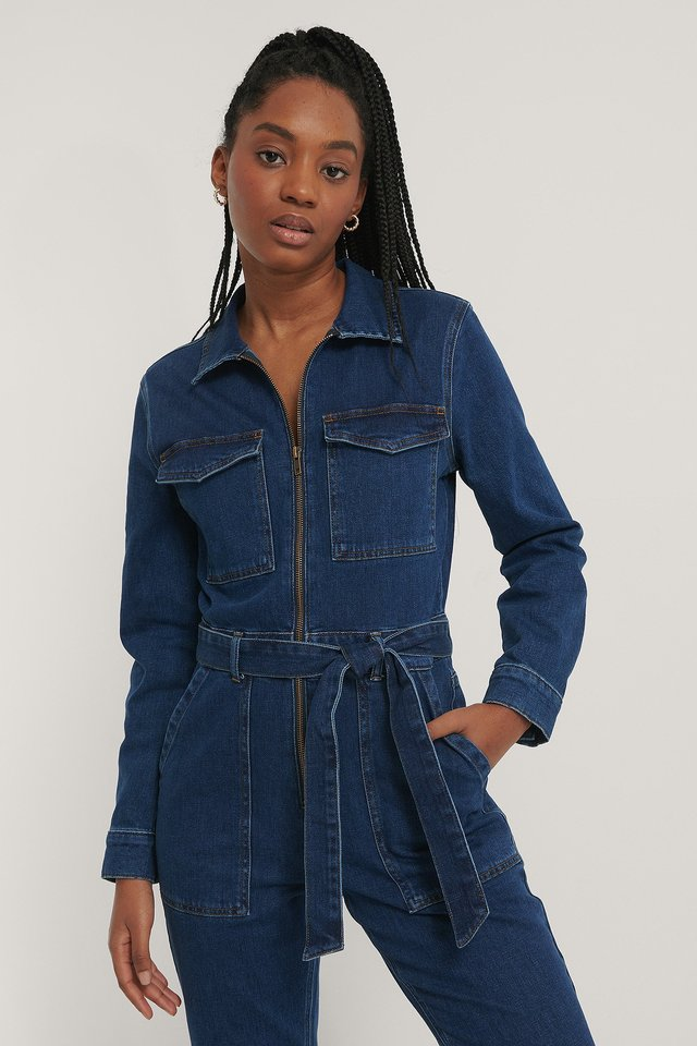 Mid Blue Zip Detail Denim Jumpsuit