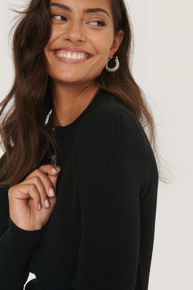 Black Zip Detail Knitted Sweater