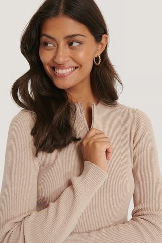 Beige Zip Detail Knitted Sweater