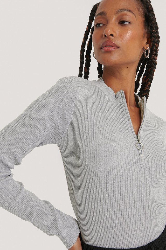Grey Zip Detail Knitted Sweater