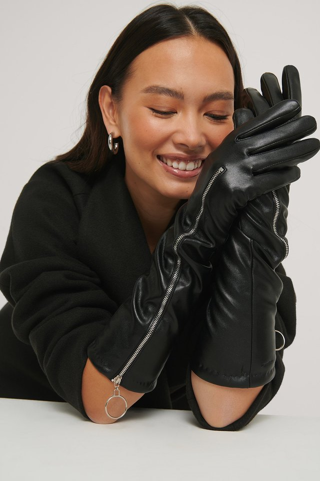 Zip Detail Long Gloves Black