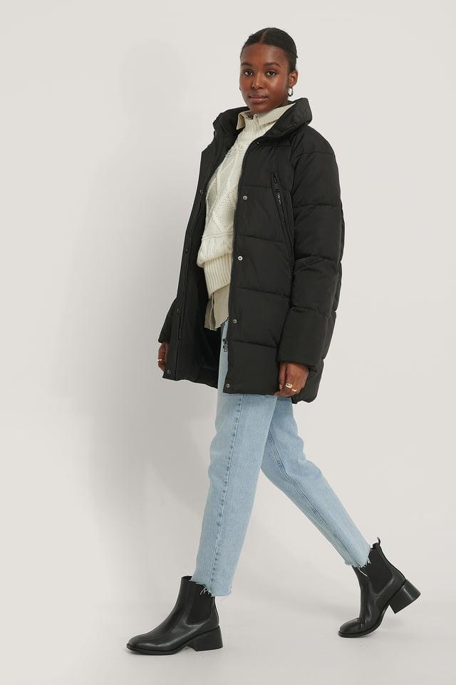 Zip Detail Padded Jacket Black