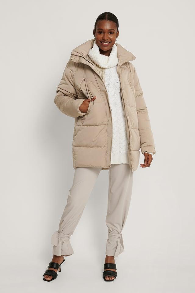Beige Zip Detail Padded Jacket