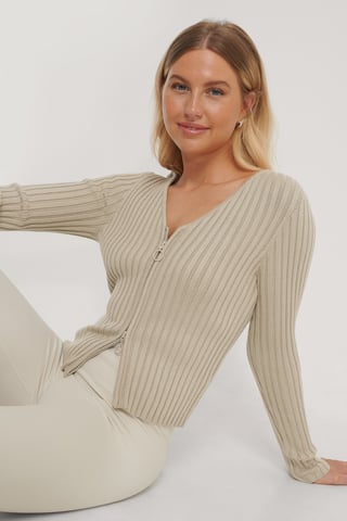 Beige Zip Detail Ribbed Cardigan