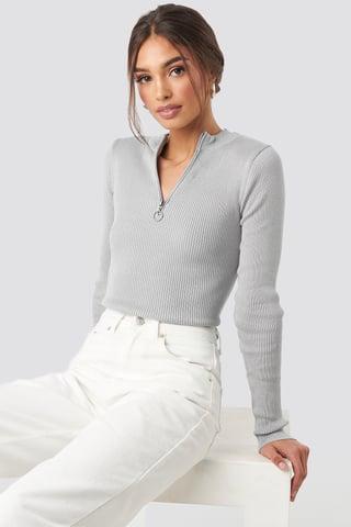 Light Grey Zip Knitted Sweater