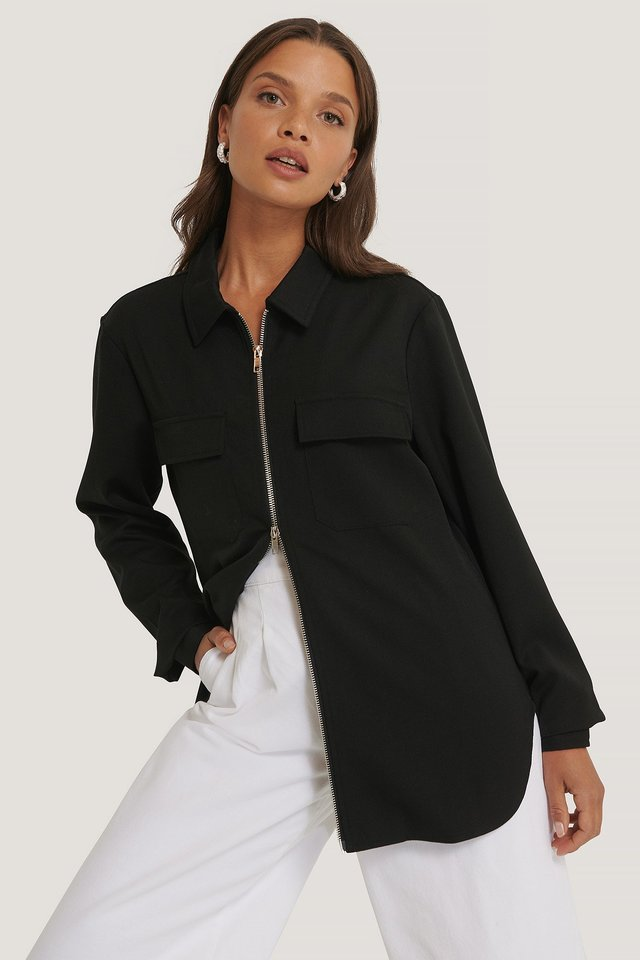 Zip Overshirt Black
