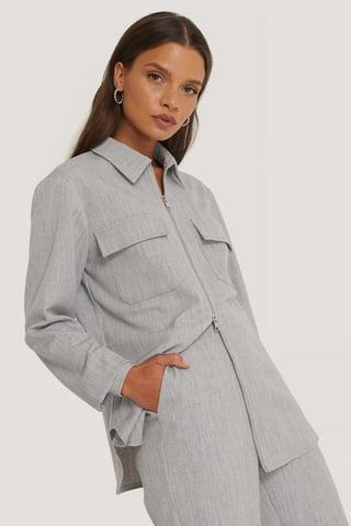 Light Grey Figursyet Overskjorte Med Lommer