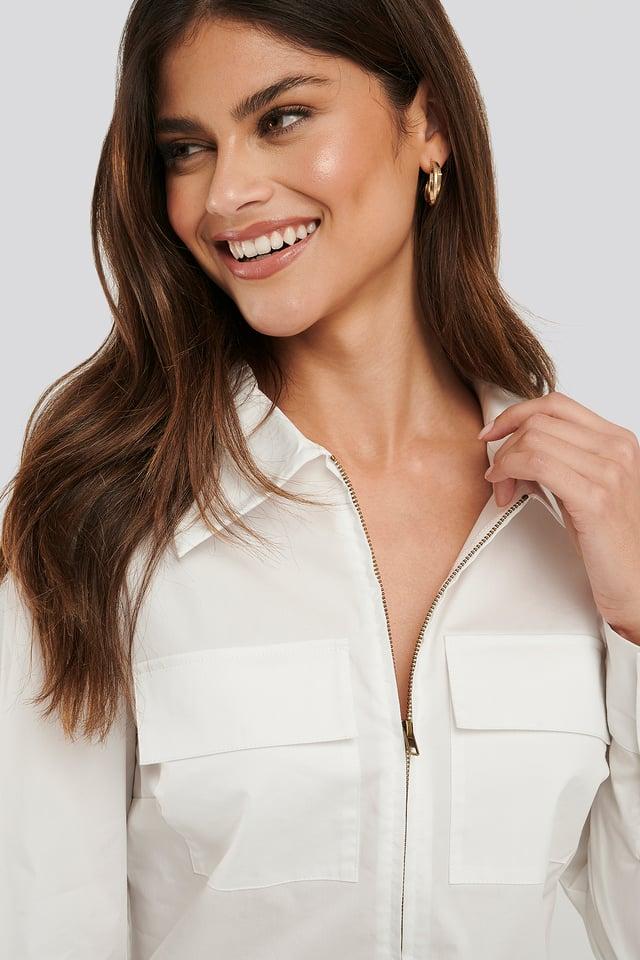 Zip Pocket Shirt White