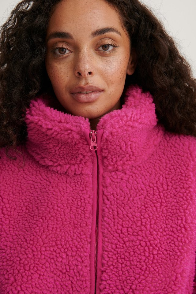 Strong Pink Zip Pocket Teddy Jacket