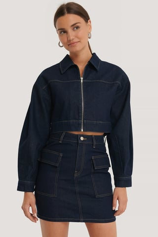 Dark Blue Croppad Denimjacka Med Dragkedja