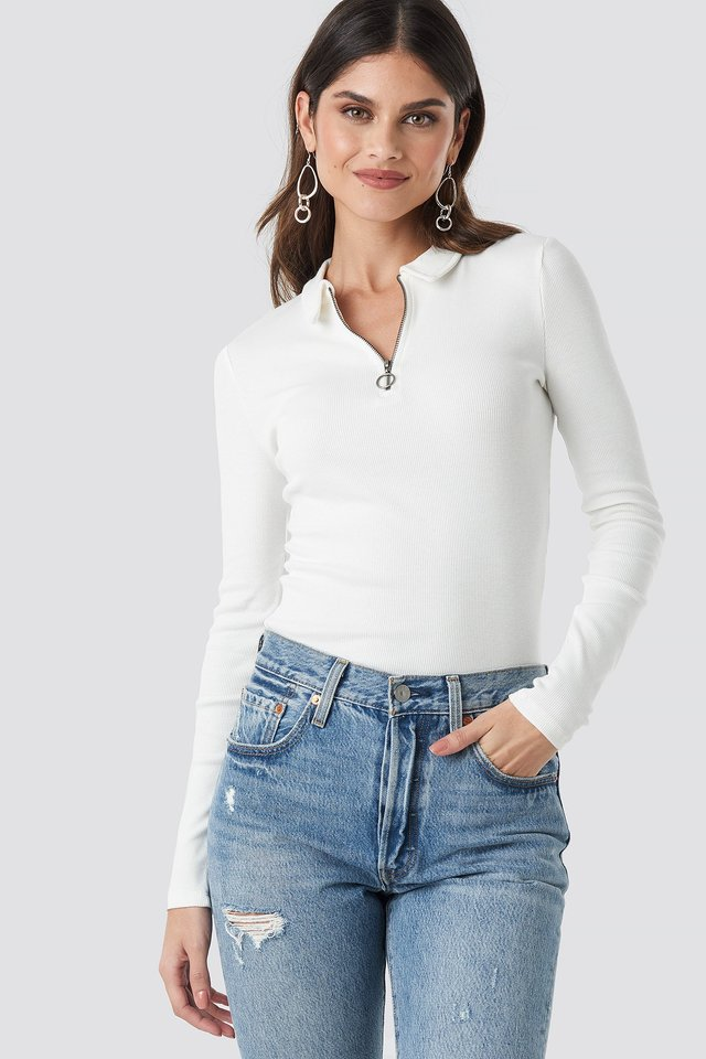 Offwhite Zipped Ribbed Top