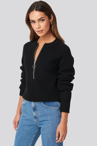 Black Zipper Front Knitted Sweater