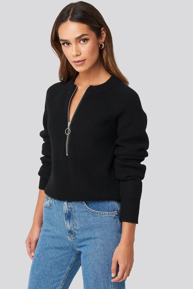 Zipper Front Knitted Sweater Black