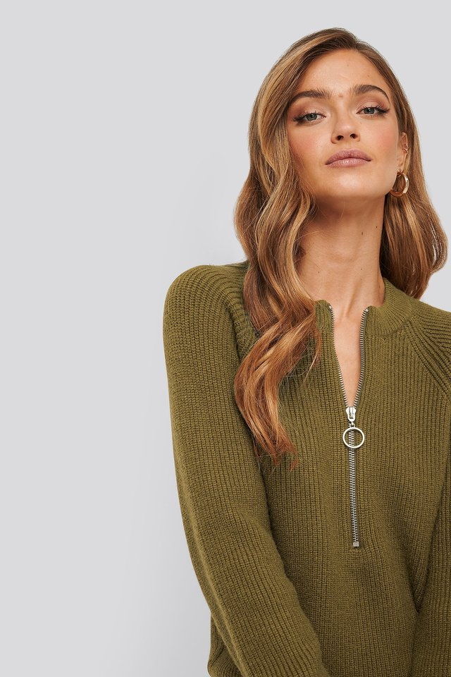 Zipper Front Knitted Sweater Khaki