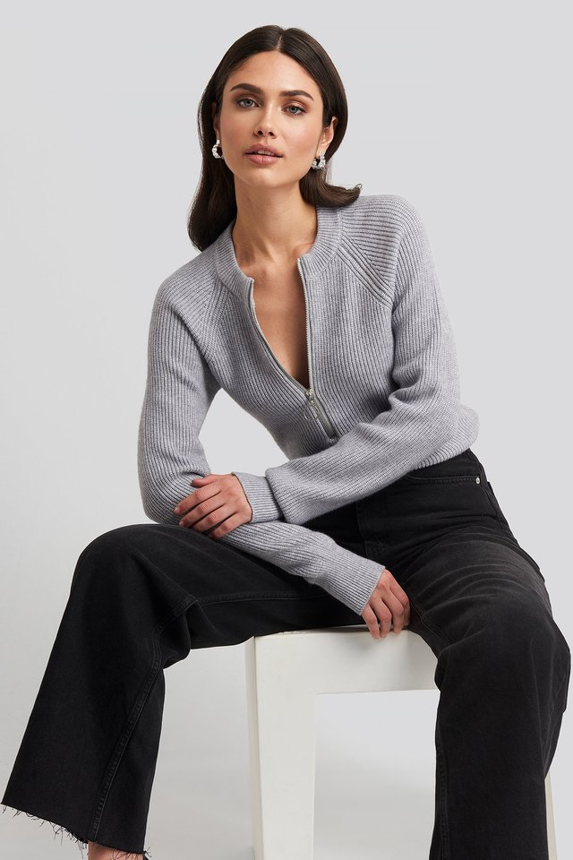 Zipper Front Knitted Sweater Light Grey