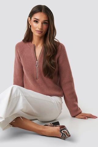 Dusty Dark Pink Zipper Front Knitted Sweater
