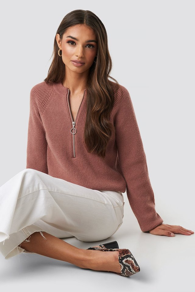 Zipper Front Knitted Sweater Dusty Dark Pink