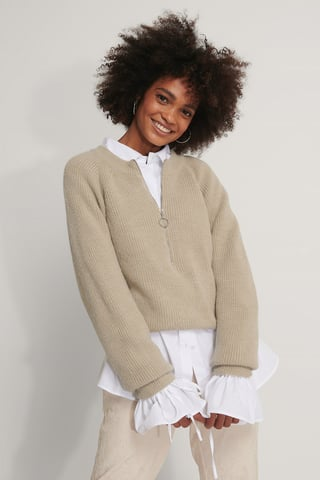 Beige Zipper Front Knitted Sweater
