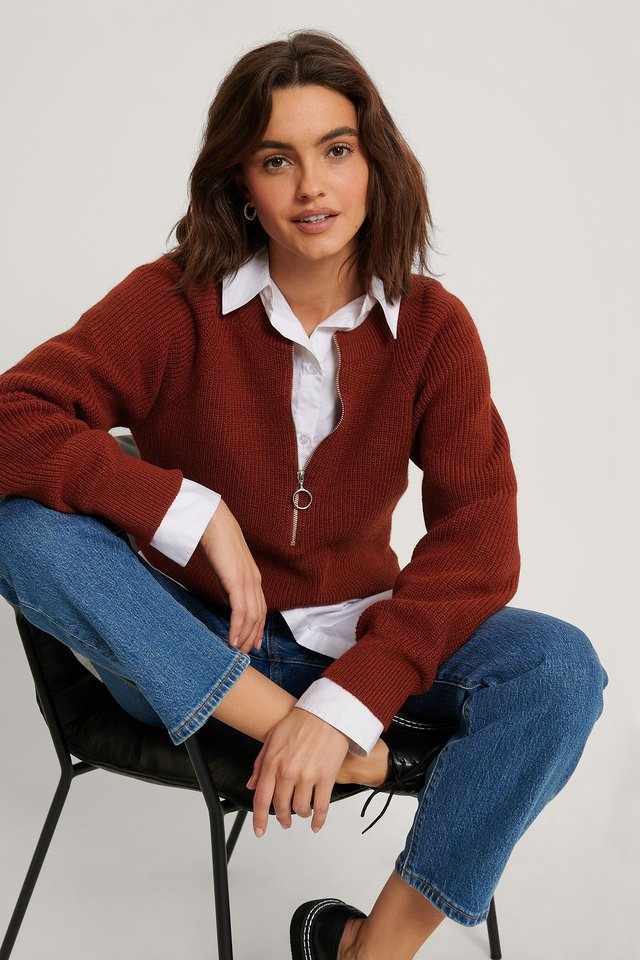Zipper Front Knitted Sweater Rustic Red