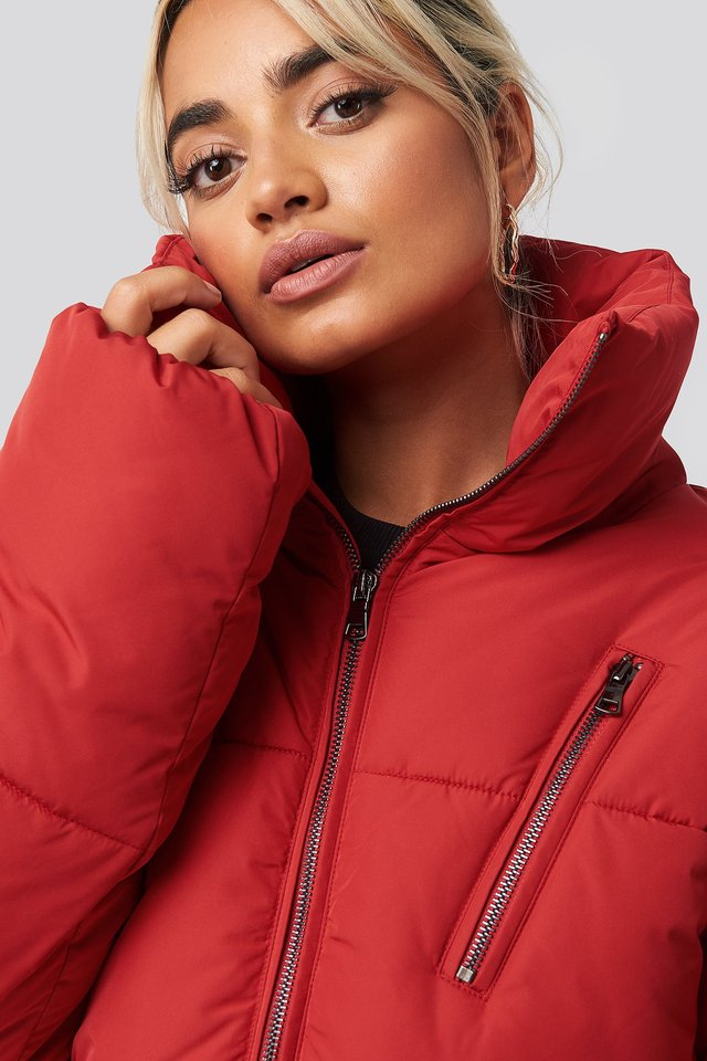 Zipper Padded Jacket Red