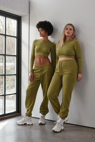 Green Pantaloni Della Tuta Con Zip Sull'Orlo