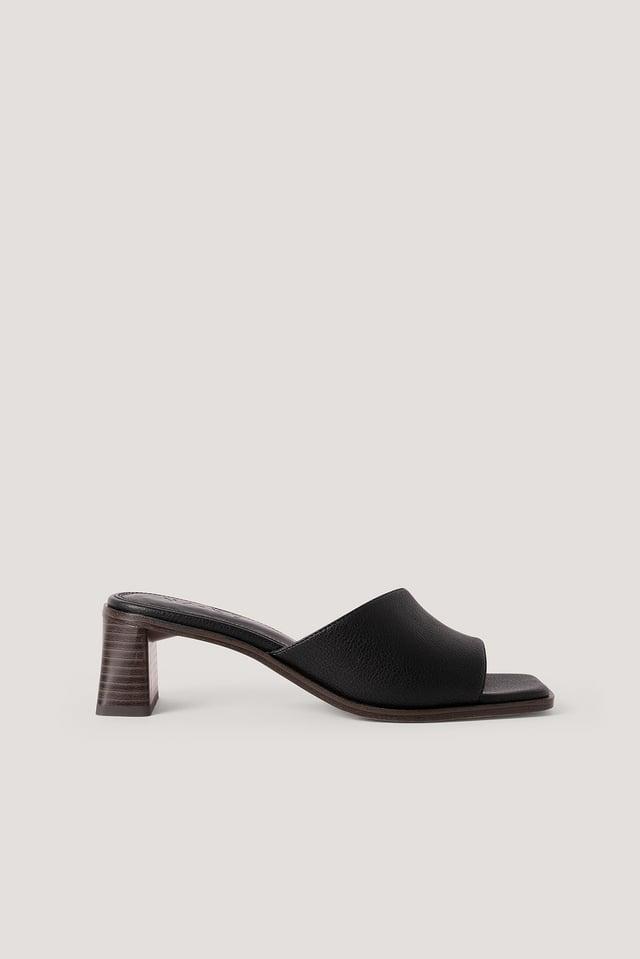 Black Zylinder Heel Soft Mules
