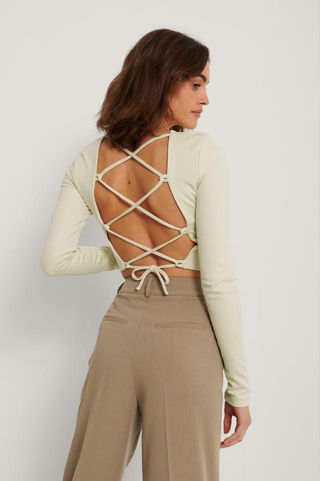Back Detail Strap Top Beige