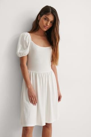 White Balloon Sleeve Jersey Dress
