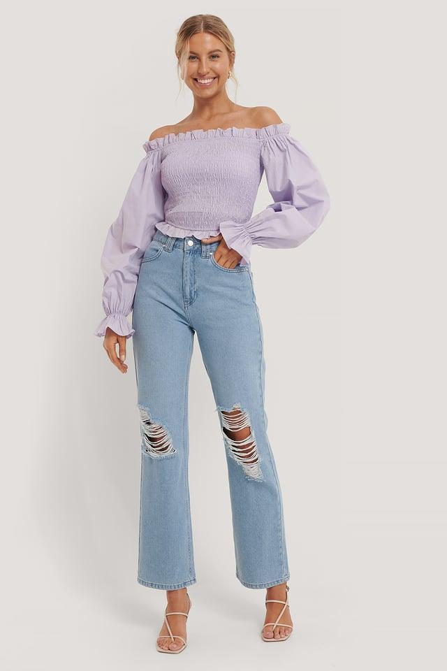 Raka Jeans Med Hög Midja Blue