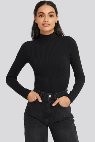 Black Long Sleeve Ribbed Polo Top