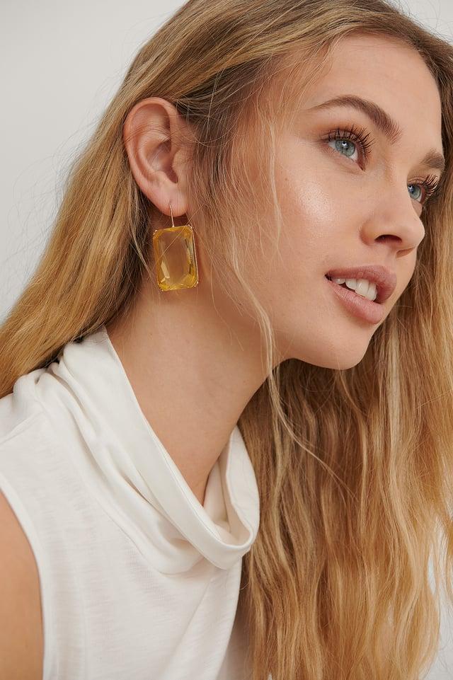 Yellow Oversize Colorful Stone Earrings