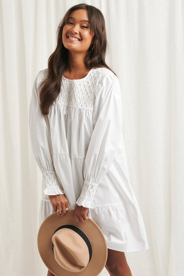 Smocked Poplin Dress White