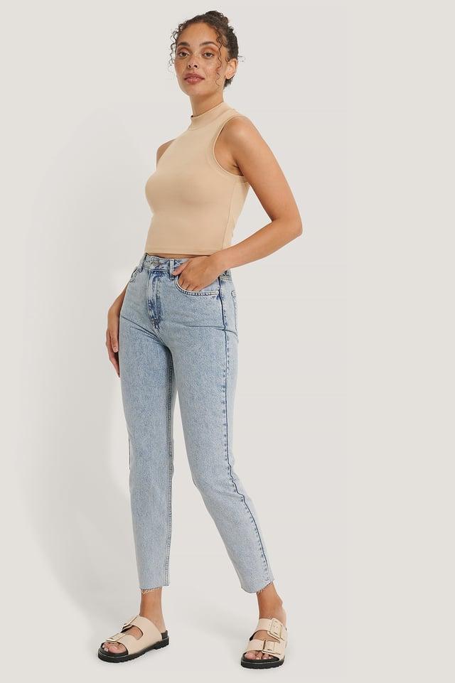 Organic Stone Washed Slim High Waist Jeans Light Blue
