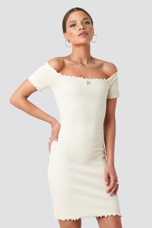Off Shoulder Ribbed Dress Nicci Hernestig x NA-KD
