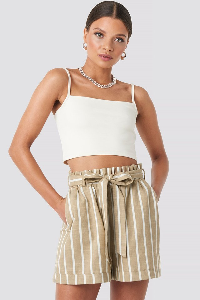 Tie Waist Relaxed Shorts Light Beige