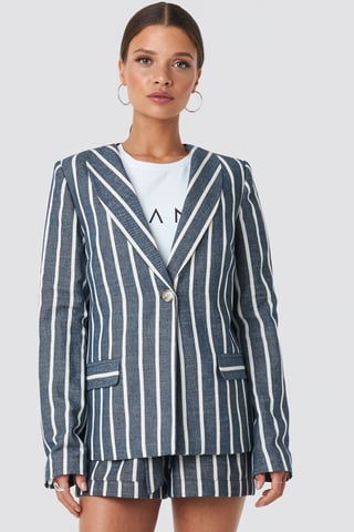 Blue/White Stripe Straight Cut Blazer