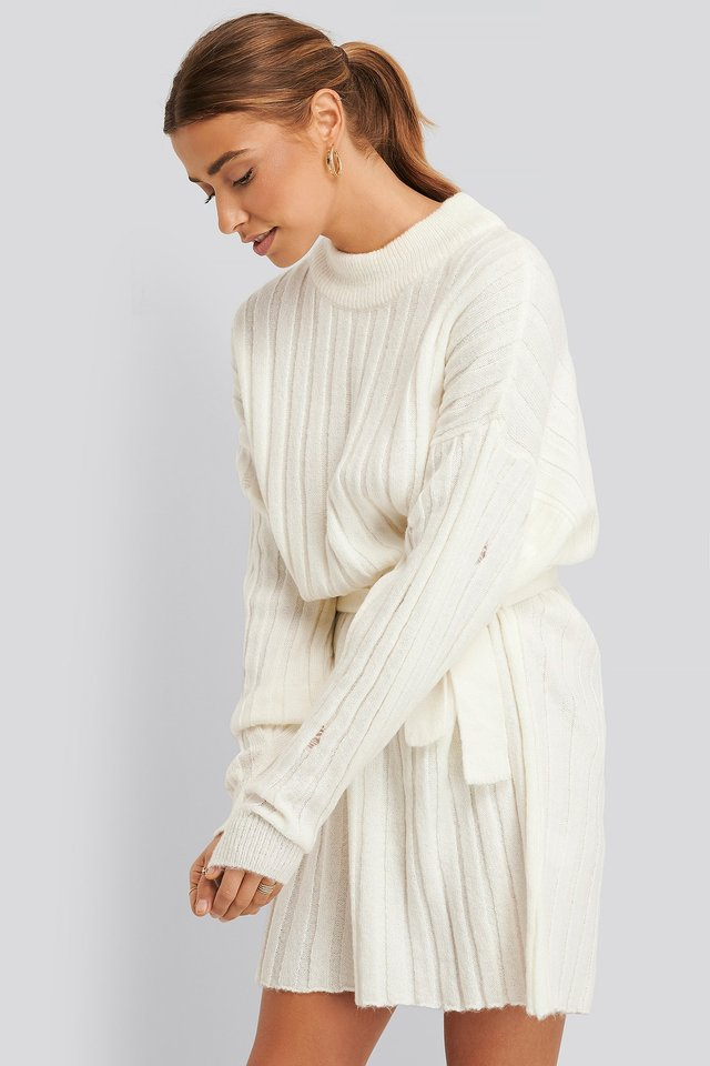 Oversized Tie Knitted Dress White