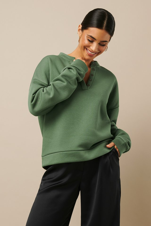 Button Sweatshirt Khaki