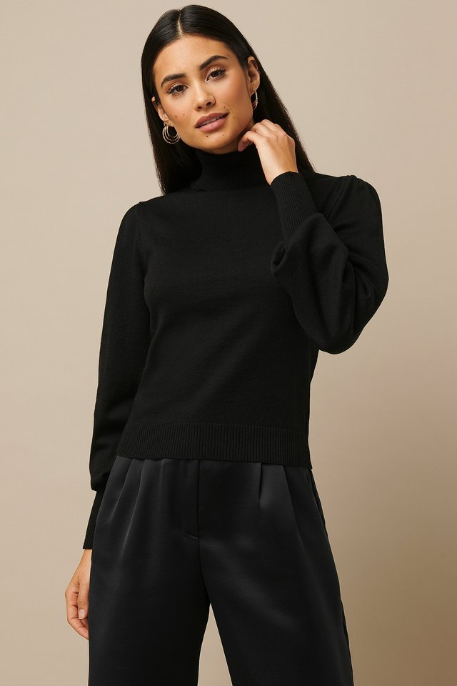 High Neck Puff Sleeve Sweater Black
