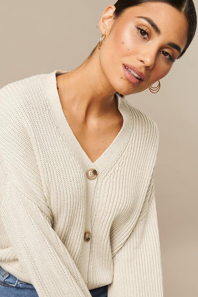 Knitted Big Sleeve Cardigan Beige