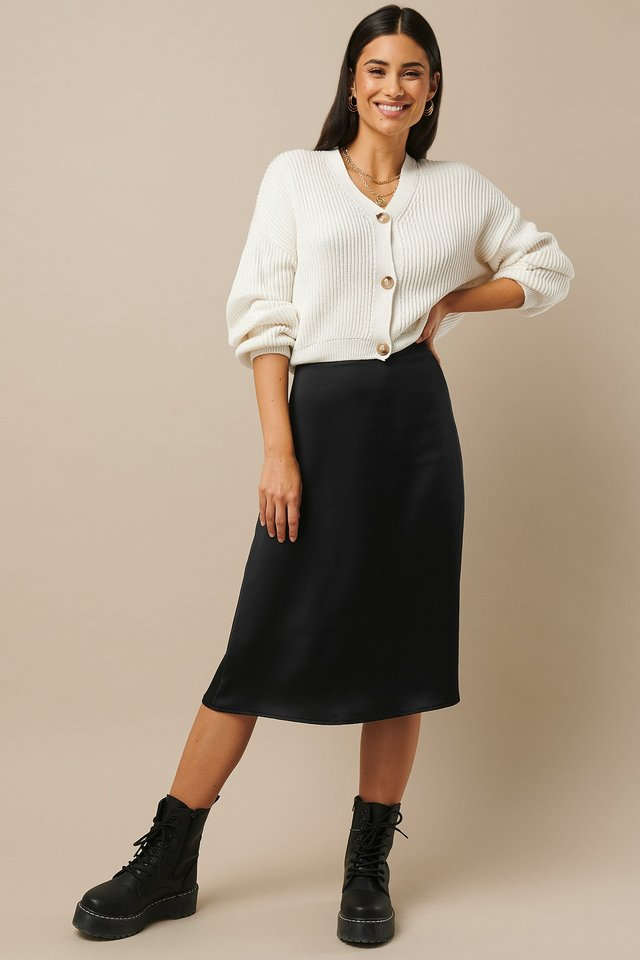 Satin Midi Skirt Black