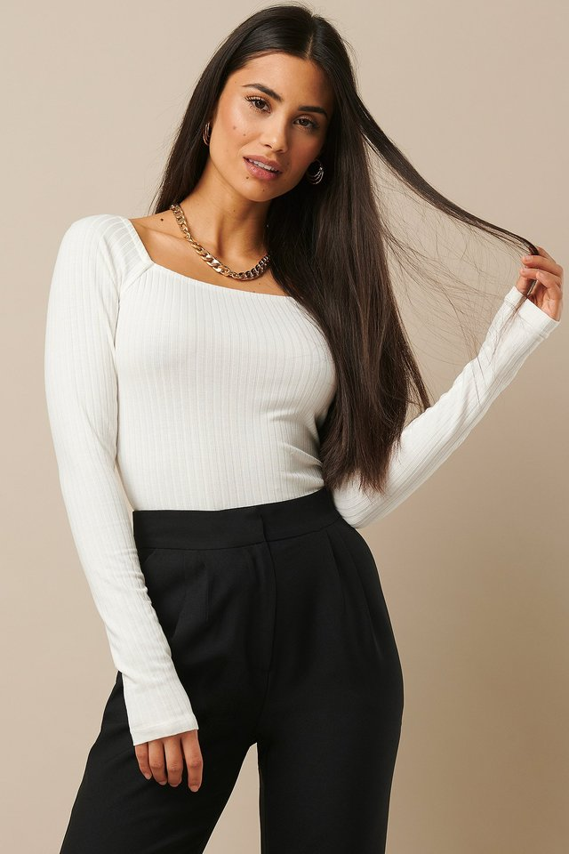 Square Neck Ribbed Top Offwhite