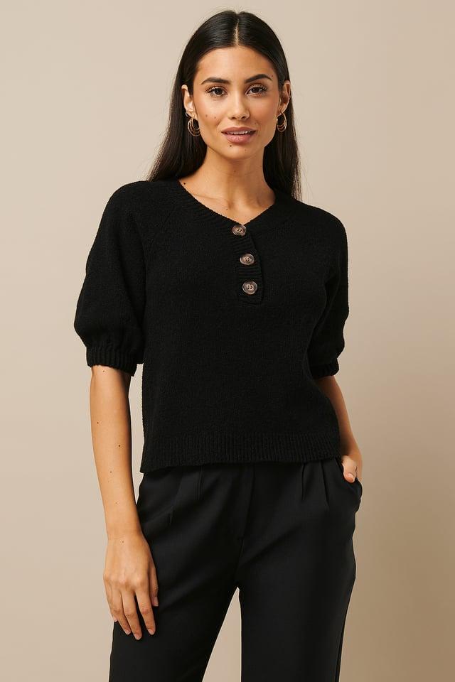 Vintage Look Knitted Top Black