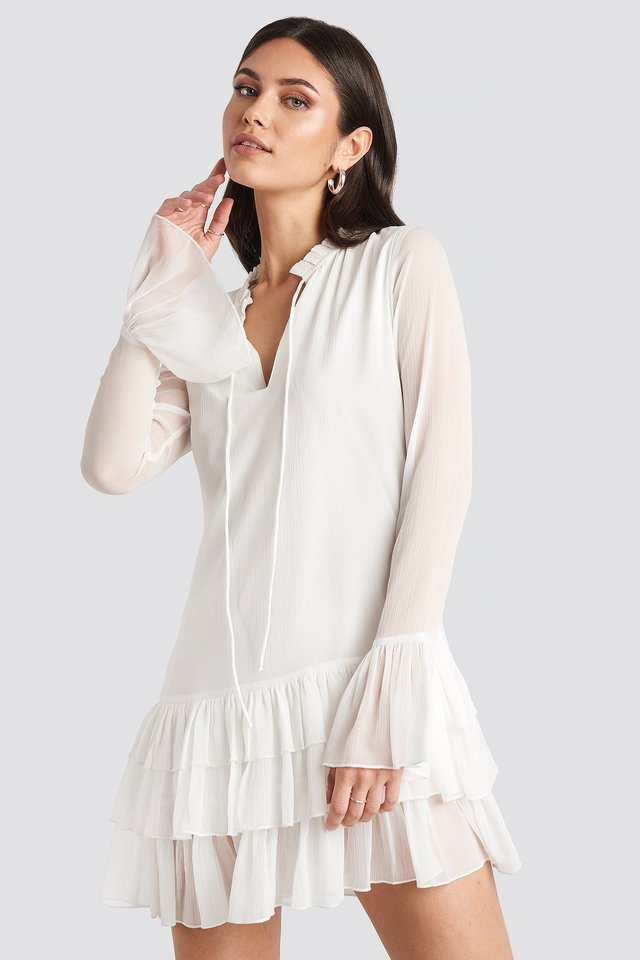 Chiffon Frill Dress White